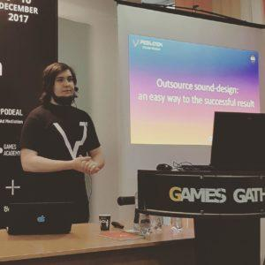 "[Video] Games Gathering 2017: session of VP Production's CEO Vlad Plotnikov ""Outsource sound-design: an easy way to the successful result"""